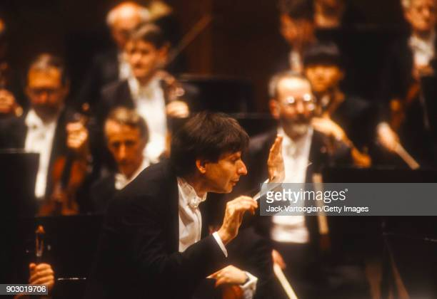 American conductor Michael Tilson Thomas leads the London Symphony Orchestra in the New York premiere of 'A Quiet Place' at Lincoln Center's Avery...