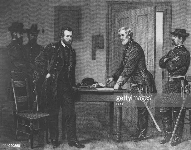 American Confederate Army general Robert E Lee surrenders to Union general Ulysses S Grant at Appomattox Court House, Virginia, ending the American...