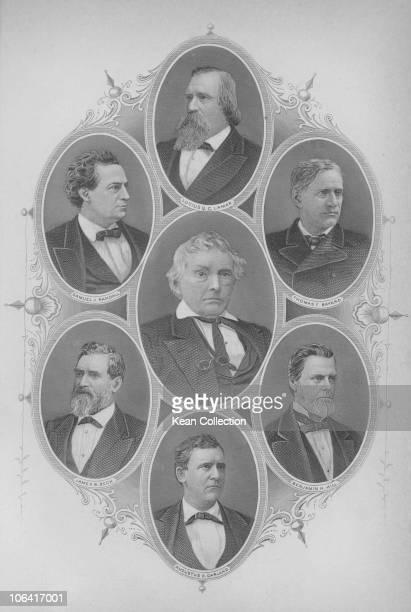 American congressmen circa 1880. Clockwise from top Lucius Quintus Cincinnatus Lamar , Thomas Francis Bayard , Benjamin Harvey Hill , Augustus Hill...