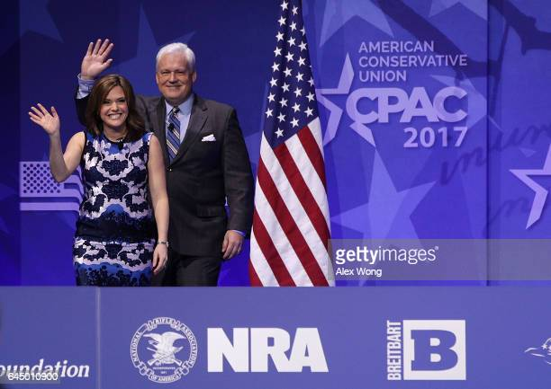 American Conservation Union Chairman Matt Schlapp and his wife and political commentator Mercedes Schlapp acknowledge the crowd during the...
