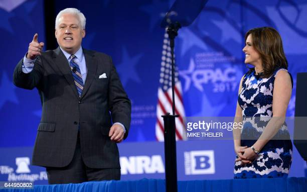 American Conservative Union Chairman Matt Schlapp greets guests with his wife Mercedes as he opens the third day of the Conservative Political Action...