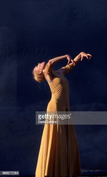 American contemporary dance choreographer performer and poet of Finnish origin Carolyn Carlson on stage for her show 'Vu d'ici a portrait in five...