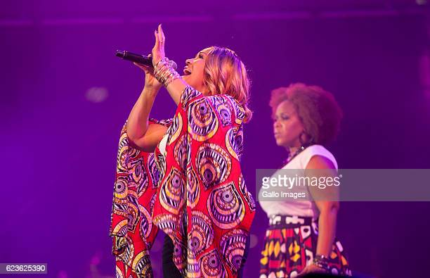 American contemporary gospel duo Mary Mary performs during the Essence Festival All Star music concert at the Moses Mabhida Stadium on November 13...