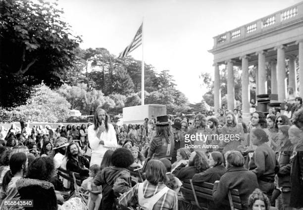 American counterculture Hippie icon Stephen Gaskin returns to San Francisco to report on The Farm circa 1971 at Golden Gate Park in San Francisco...