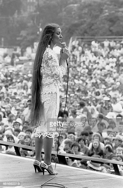 American country and pop musician Crystal Gayle performs onstage at Chicagofest Chicago Illinois August 8 1981