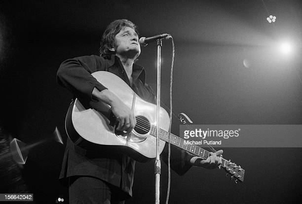 American country and western singersongwriter Johnny Cash performing at the Royal Albert Hall London 27th September 1972