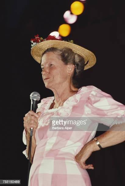 American country comedian Minnie Pearl performing at the Grand Ole Opry in Nashville Tennessee September 1986