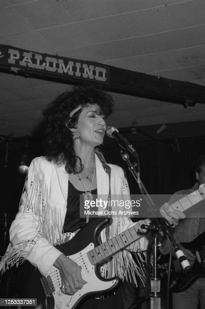 American country music artist Rosie Flores performs at the Palomino Club in North Hollywood, California, 17th February 1987.
