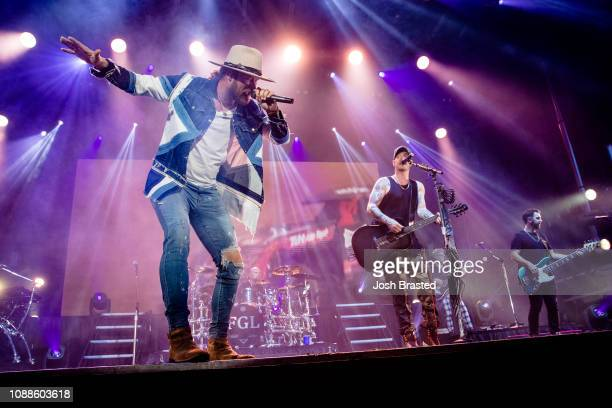 American country music duo Brian Kelley and Tyler Hubbard of Florida Georgia Line perform during the 2019 Allstate fan fest part of Dick Clark's New...