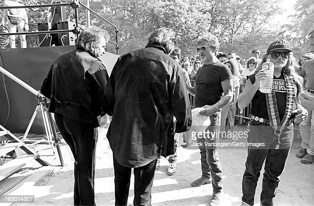 American country music group the Highwaymen from left Johnny Cash Waylon Jennings Kris Kristofferson and Willie Nelson backstage at Central Park...
