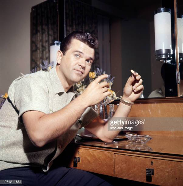 American country music singer and member of the Country Music and Rockabilly Halls of Fame, Conway Twitty in Memphis, TN, circa 1958.