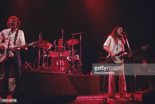 American country rock band Poco perform on stage London 1976 LR Paul Cotton George Grantham Timothy B Schmit Rusty Young