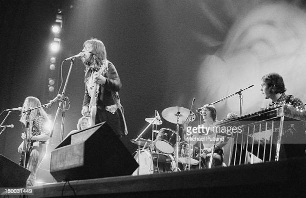 American country rock band Poco performing at the Rainbow Theatre London 3rd February 1972 Left to right Timothy B Schmit Paul Cotton Richie Furay...