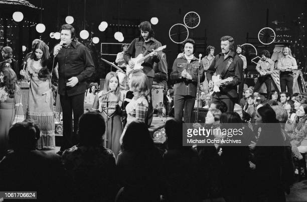 American country singer Johnny Cash and his wife June Carter Cash recording 'The Johnny Cash Show' at the NBC studios USA 11th December 1973