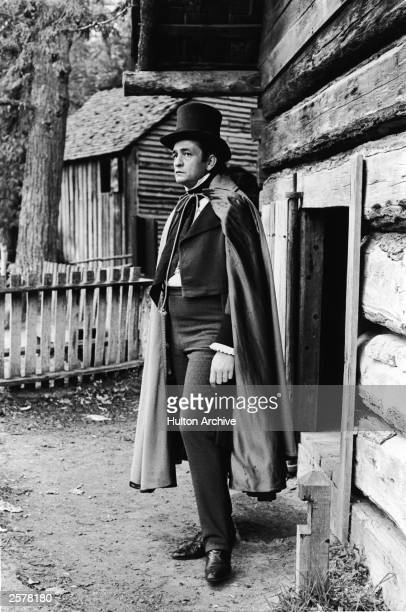 American country singer Johnny Cash stands in costume as Cherokee chief John Ross in a still from the historical television film 'The Trail of Tears'...