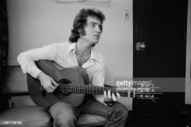 American country singer Larry Gatlin prepares for an appearance on Johnny Cash's television show at the NBC studios USA 11th December 1973