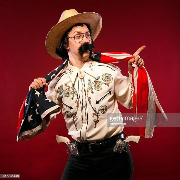 Cowboy Retrato de bandeira americana com a apontar e Sobrancelha Levantada