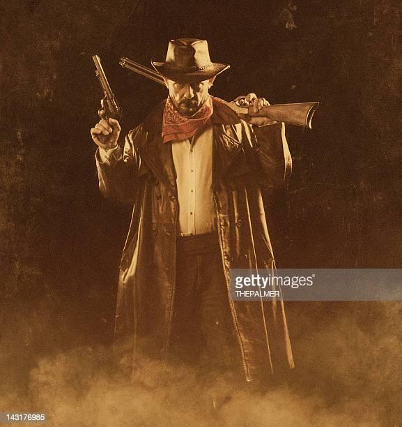 american cowboy with guns