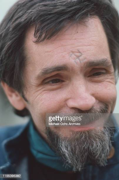 American criminal and cult leader Charles Manson at the California Medical Facility, Vacaville, US, circa 1984.
