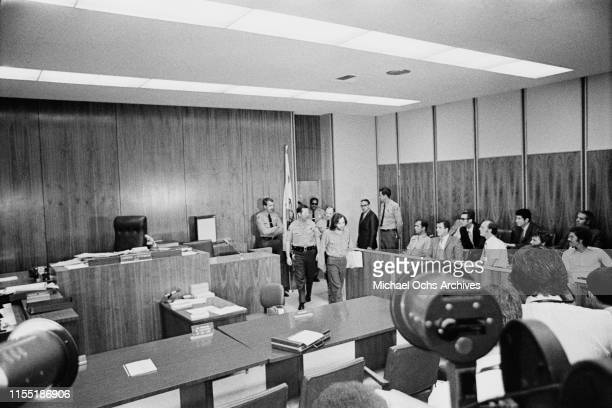 American criminal and cult leader Charles Manson enters the court room at the Santa Monica Courthouse to appear in court for a hearing regarding the...