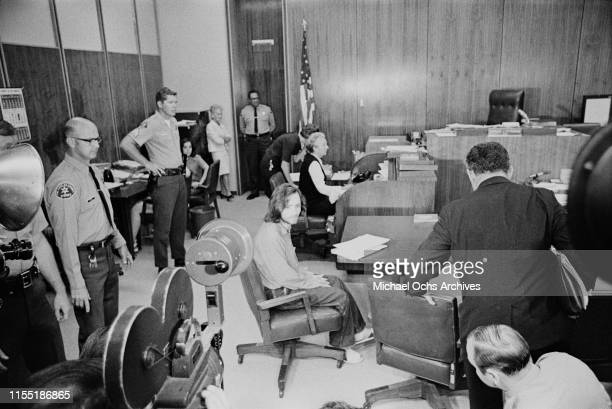 American criminal and cult leader Charles Manson sits in the the court room at the Santa Monica Courthouse for a hearing regarding the murder of...
