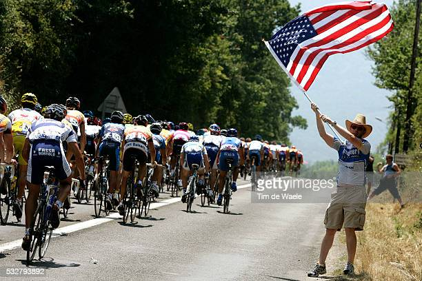 American cycling fan during stage 14 of the 2005 Tour de France between Agde and Ax-3-Domaines.