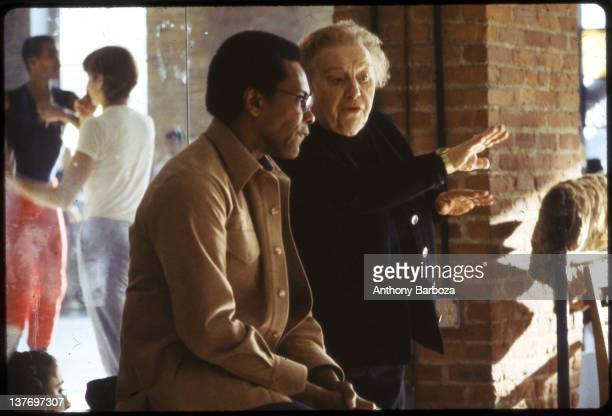 American dancer Agnes DeMille and Arthur Mitchell discuss choreography at the Dance Theater of Harlem New York New York 1983