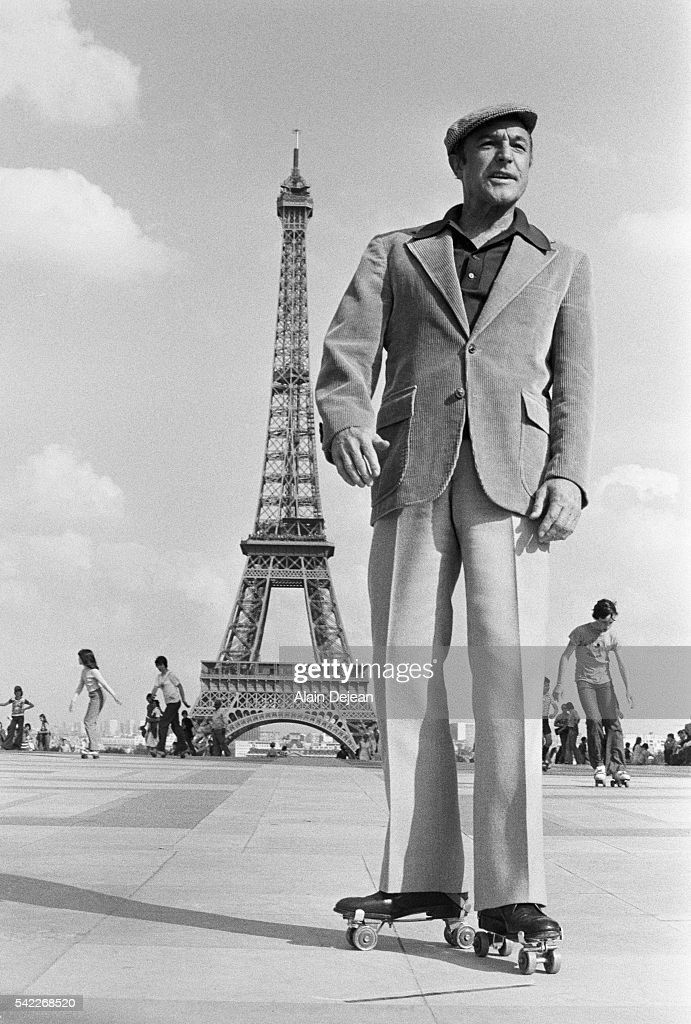 American dancer and actor Gene Kelly is in Paris to shoot scenes of the movie That's Entertainment Too.