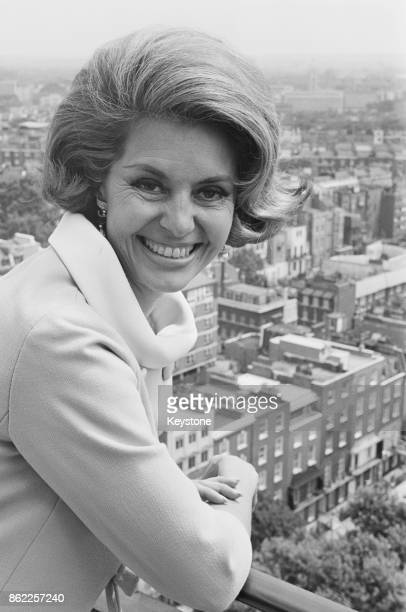 American dancer and actress Cyd Charisse during a press conference for her upcoming film 'Maroc 7' at the Carlton Towers Hotel in London 10th July...