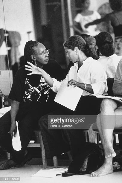 American dancer and choreographer Judith Jamison with actress and playwright Anna Deavere Smith at a rehearsal of a production by the Alvin Ailey...