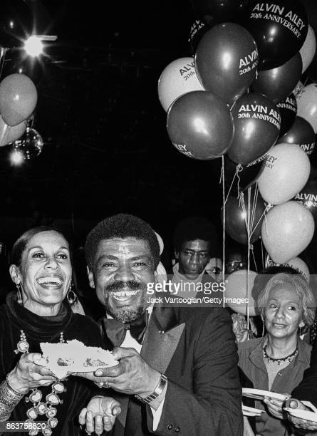 American dancers Carmen de Lavallade and Alivin Ailey laugh during a celebration for the 20th anniversary of the Alvin Ailey American Dance Theater...