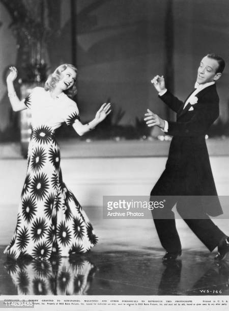American dancers singers and actors Ginger Rogers and Fred Astaire dancing in a scene from 'Shall We Dance' directed by Mark Sandrich 1937