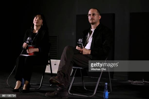 American Darren Aronofsky attends the postscreening QA of 'mother' during the Busan International Film Festival on October 14 2017 in Busan South...