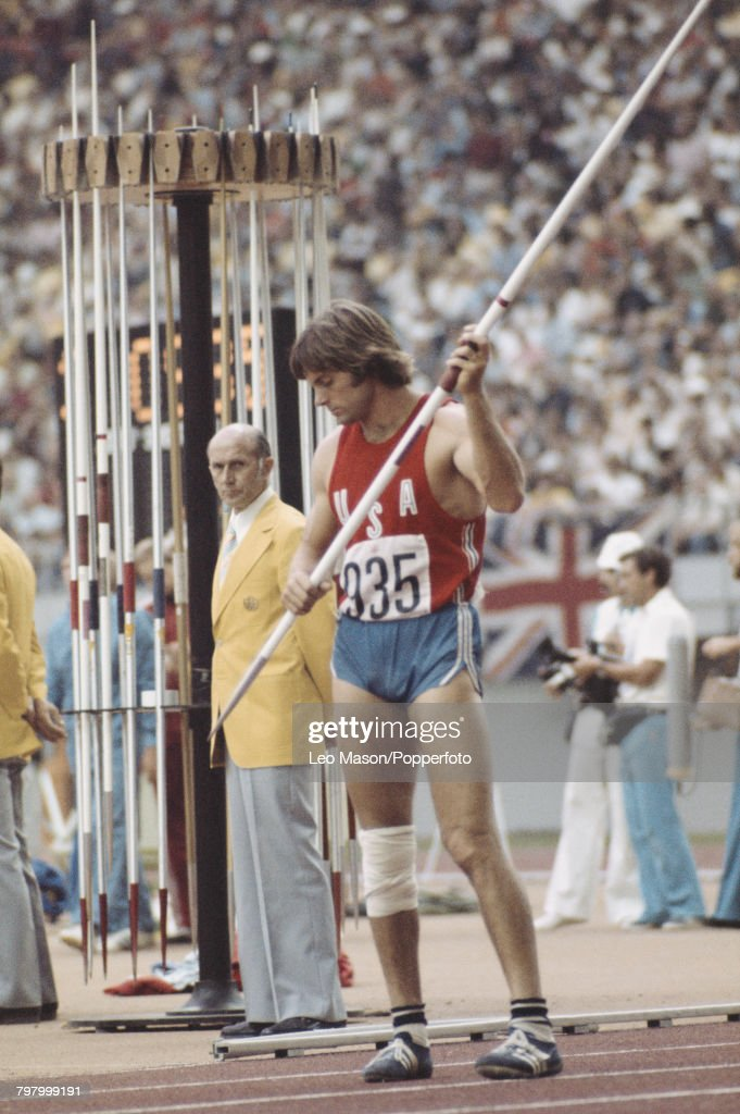 American decathlete Bruce Jenner (Caitlyn Jenner) pictured during competition in the javelin throw discipline on the second day of the Men's decathlon competition at the 1976 Summer Olympics inside the Olympic Stadium in Montreal, Canada on 30th July 1976. Bruce Jenner would go on to win the event along with the gold medal and set a new world record score of 8618 points.