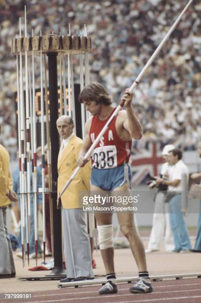 American decathlete Bruce Jenner pictured during competition in the javelin throw discipline on the second day of the Men's decathlon competition at...