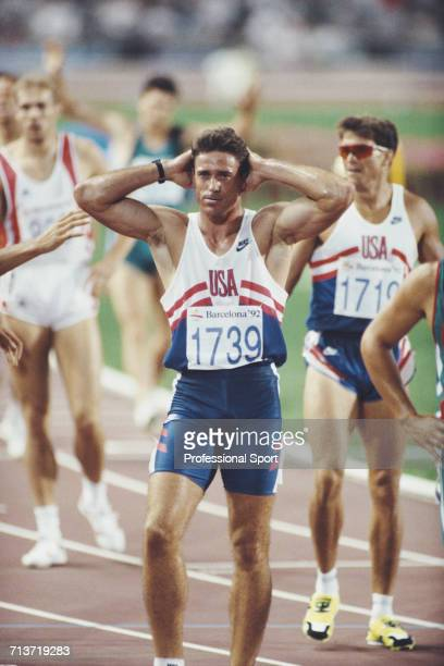 American decathlete Rob Muzzio pictured after running the 1500 metres final discipline on the 2nd day of competition to finish in 5th place in the...