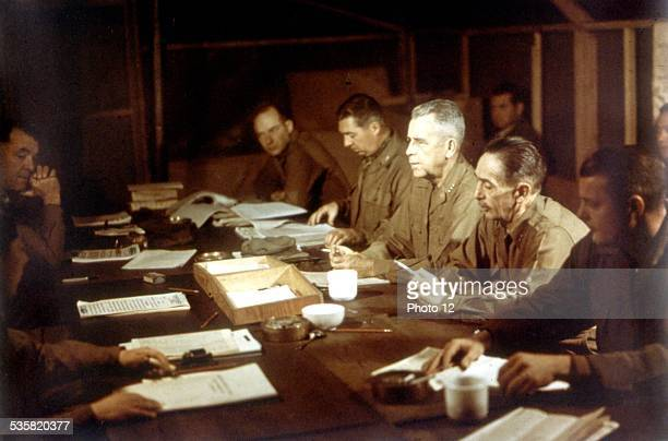 American delegation at the armistice conference in Panmunjon March 1952 Korean war US Signal Corps Photo
