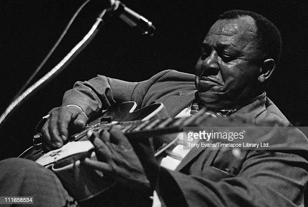 American Delta blues singer and guitarist Big Joe Williams performs at the American Folk Blues Festival in London 1963