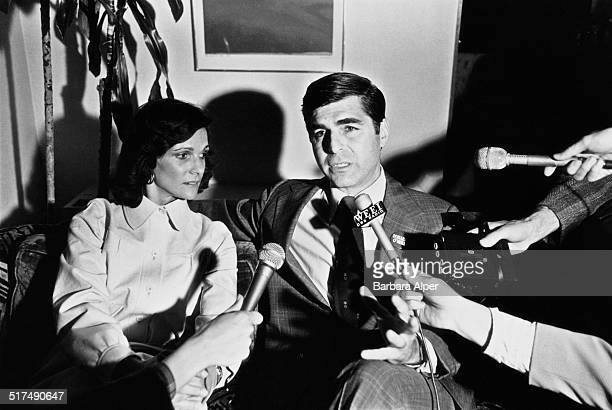 American Democrat politician Michael Dukakis and his wife Kitty talking to journalists as they wait for results in the Massachusetts Democratic...
