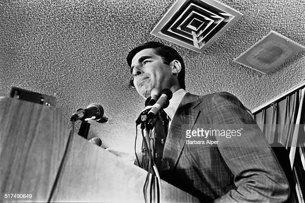 American Democrat politician Michael Dukakis at the Massachusetts Democratic gubernatorial primary Boston Massachusetts 7th November 1978