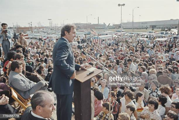 American Democratic Party politician and Senator from Maine Edmund Muskie makes a speech from a platform in the town of Granite City in Illinois...