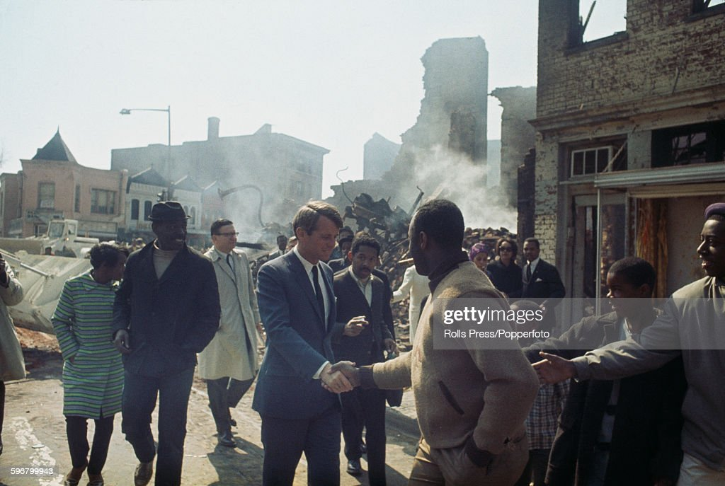 Robert Kennedy Tours Washington DC After 68 Riots : News Photo