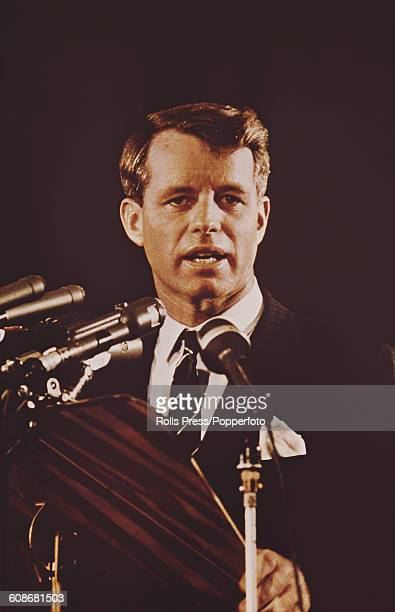 American Democratic Party politician and Senator from New York Robert F Kennedy makes a speech from a podium circa 1968
