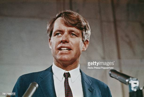 American Democratic Party politician and Senator from New York Robert F Kennedy makes a speech from a podium in the United States circa 1968