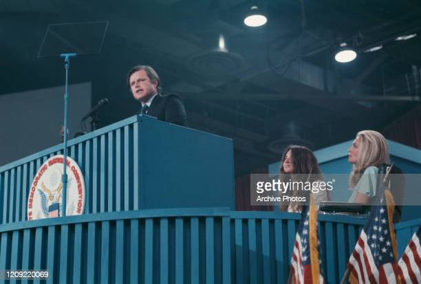 American Democratic Party politician Ted Kennedy addressing the 1972 Democratic National Convention held at the Miami Beach Convention Center in...
