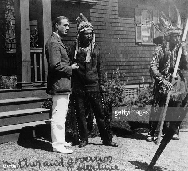 American Democratic politician and future President Franklin Roosevelt in Campobello Canada with Governor Neptune an Iroquois chief