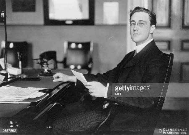 American Democratic politician and future President of the United States Franklin Delano Roosevelt while Assistant Secretary of the Navy in Woodrow...