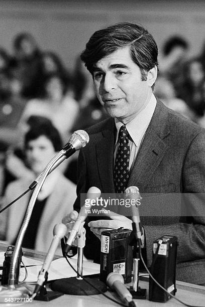 American Democratic politician and Governor of Massachusetts Michael Dukakis speaks at the State House