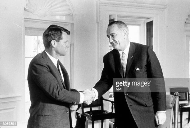 American Democratic politician Robert Kennedy meeting with President Lyndon Johnson to discuss his resignation as AttorneyGeneral