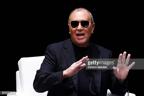 American designer Michael Kors speaks during the In Conversation with Michael Kors and Alina Cho at School of the Arts Singapore on November 15 2016...